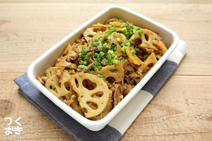 作り置きレシピ!れんこんと豚肉の和風カレー炒め煮