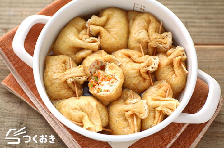 お弁当の作り置きに!人気の鶏ひき肉の五目巾着