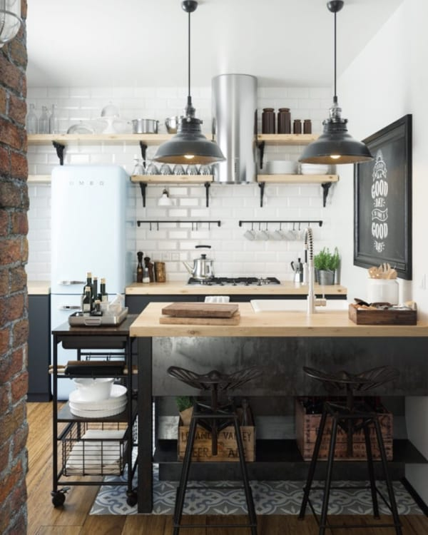 インダストリアルMIXのカフェ風キッチン
