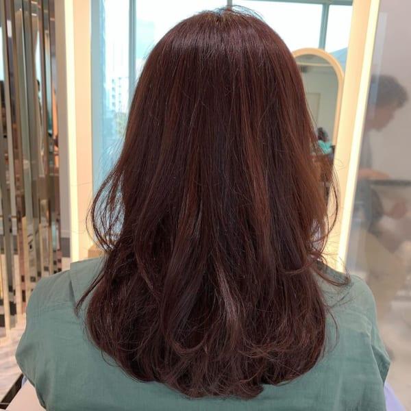 40代セミロング×カラーヘアカタログ:ブラウン