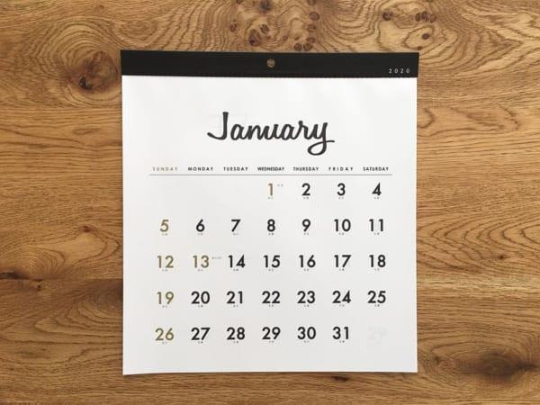 シンプルな月間カレンダー(セリア)