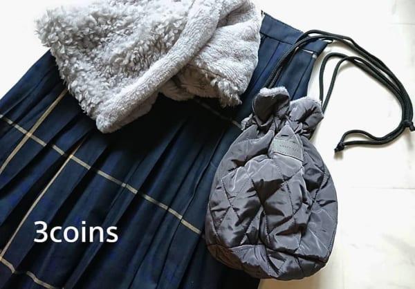 3COINSのキルティング巾着