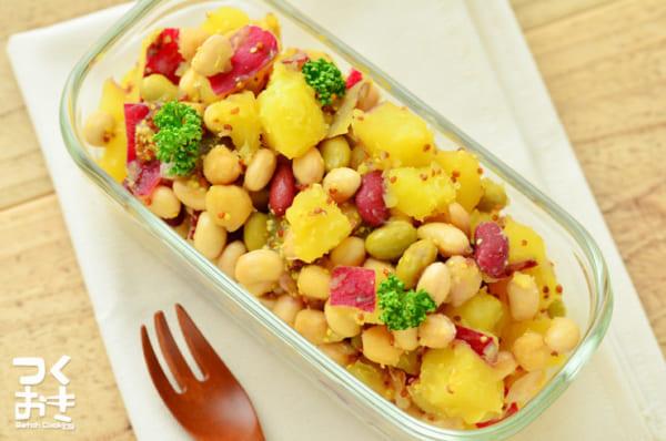作り置きに!さつまいもとお豆のマスタードサラダ