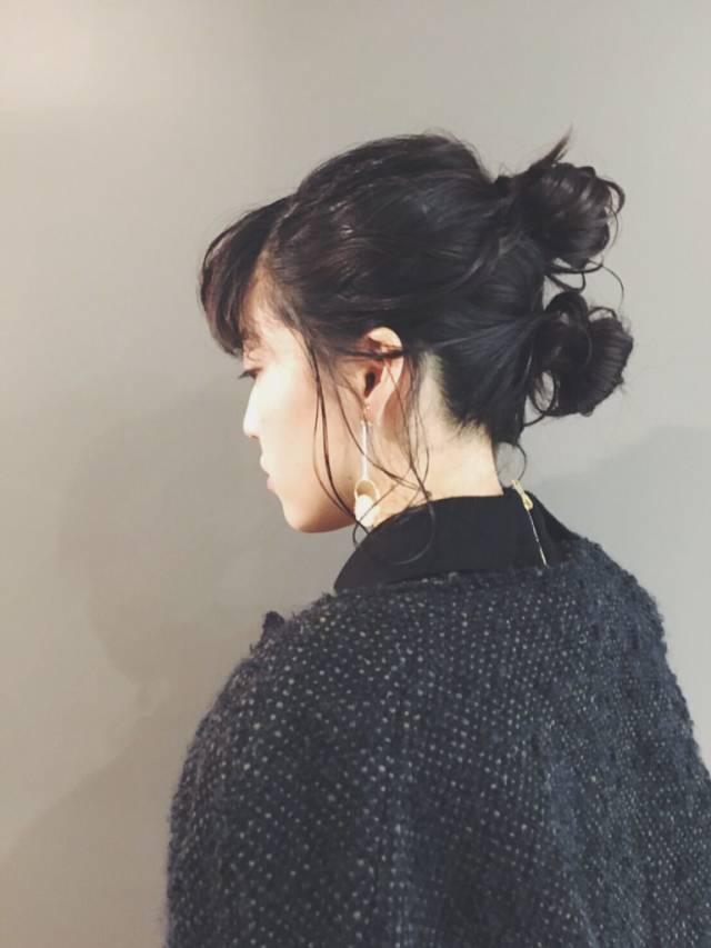 黒髪 ミディアム パーマ ヘアアレンジ5