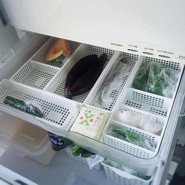 綺麗に並べたケースでストック野菜を整理整頓