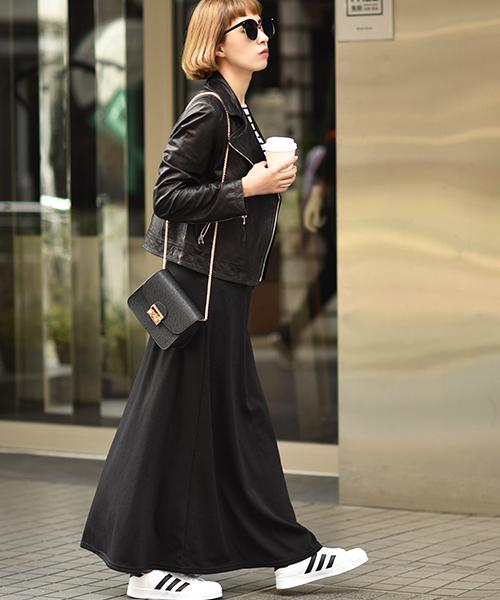 [coca] 暖か履き心地抜群裏起毛マキシスカート