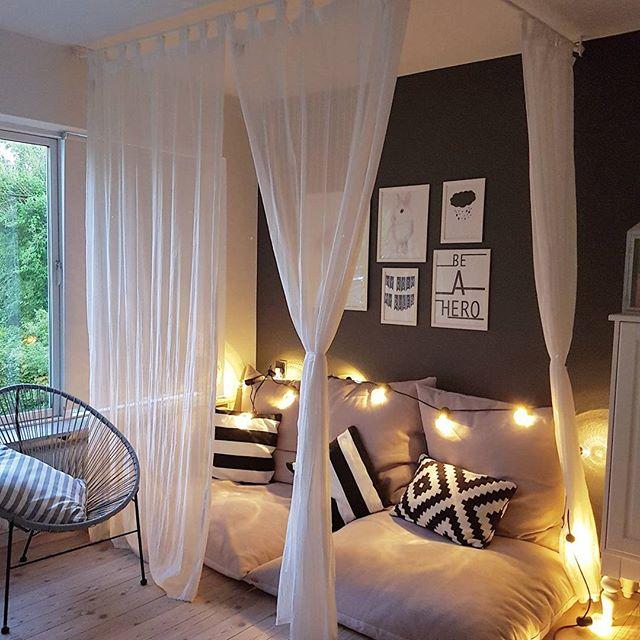 イルミネーションライトとベッドキャノピーで楽しむ空間