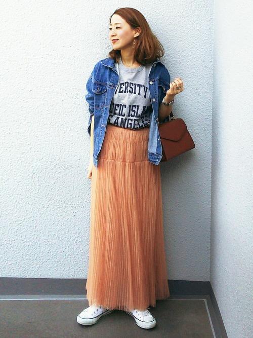 デニムジャケット×ファッションスカート
