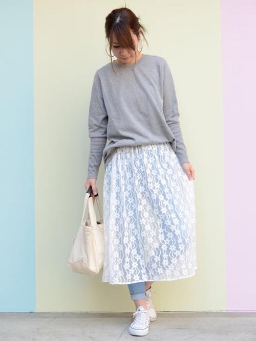 [ANDJ] ペチコート付花柄総レースミモレ丈スカート