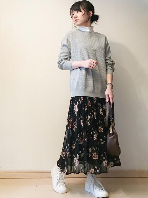 しまむらの花柄スカートコーデ9