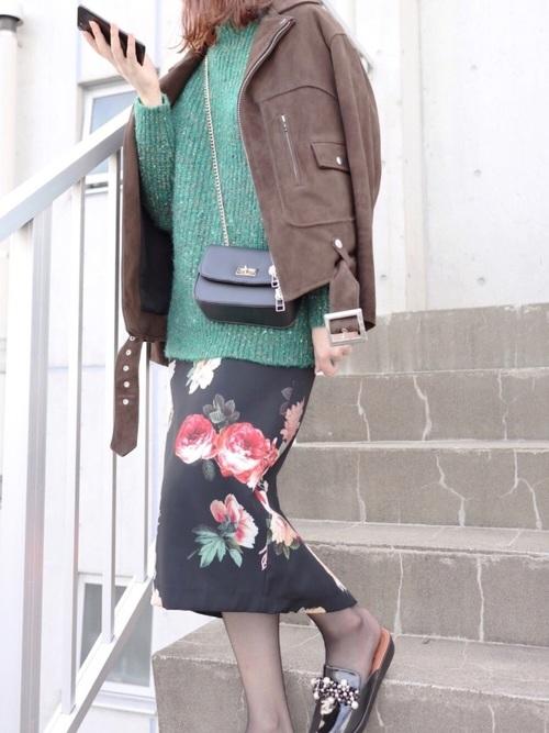 おしゃれジャケット×花柄スカート