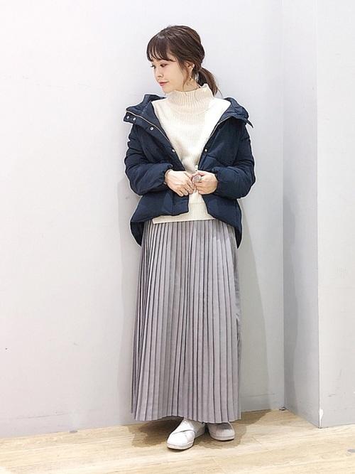 軽井沢 2月 服装 スカートコーデ2
