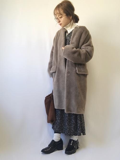 軽井沢 2月 服装 ワンピースコーデ