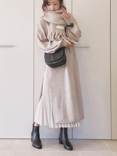 [CORNERS] フェイクスエードプリーツロングスカート