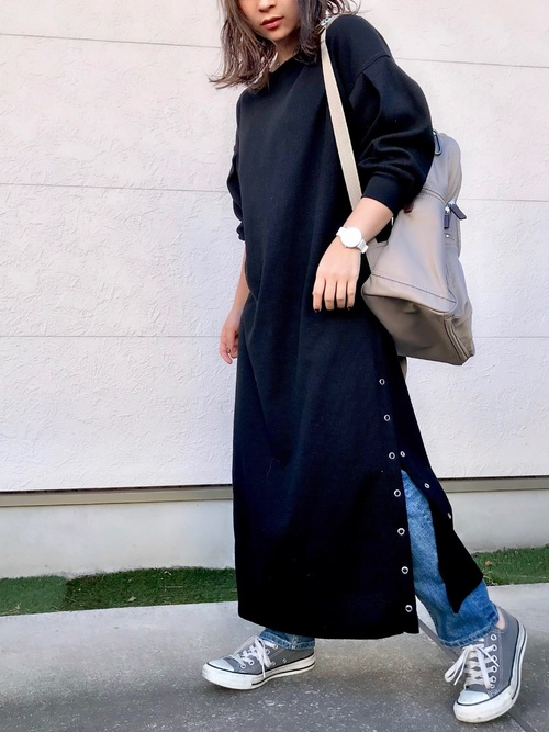 [natural couture] スナップボタン付ワッフルワンピース3