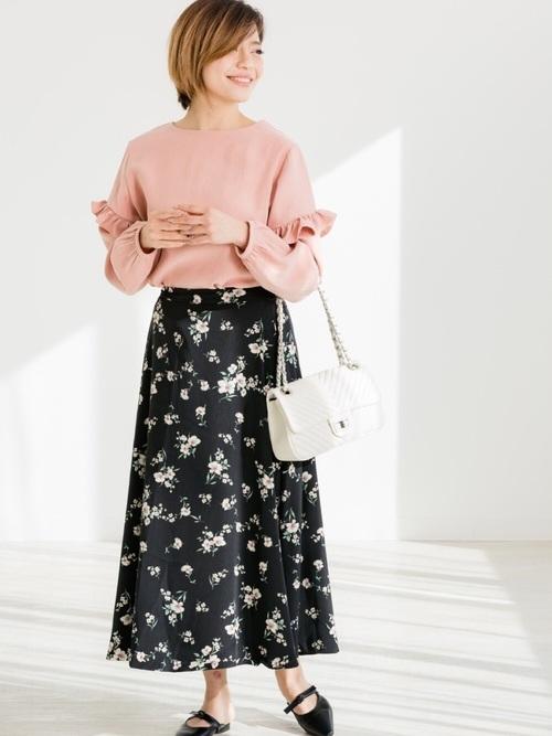 [ZAKKA-BOX] 花柄ロングフレアスカート