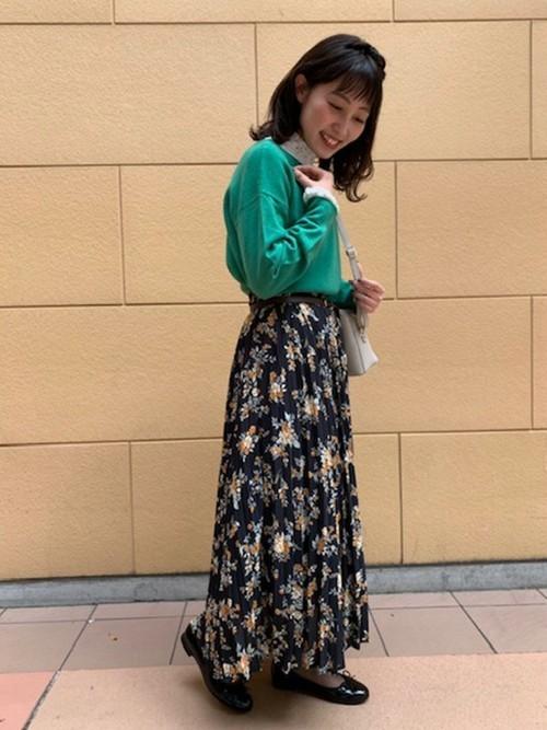 [grove] 【WEB限定サイズあり】花柄プリーツロングスカート