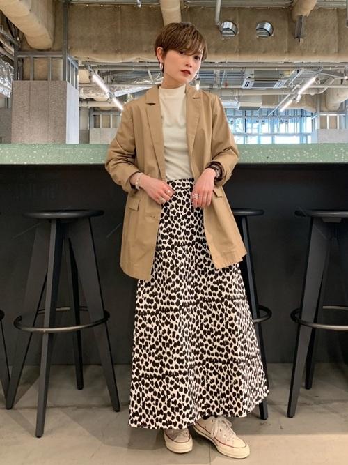 [koe] レオパード柄フレアスカート