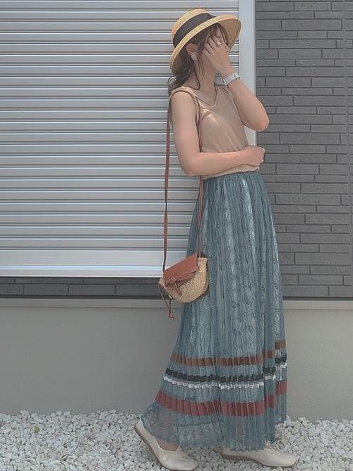 [MERCURYDUO] ボーダー切替レースプリーツスカート