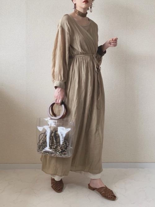[Auntie Rosa] 【Holiday】麻リラックスワイドパンツ