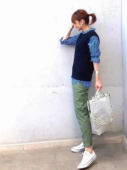 ストライプシャツ×ベイカーパンツ