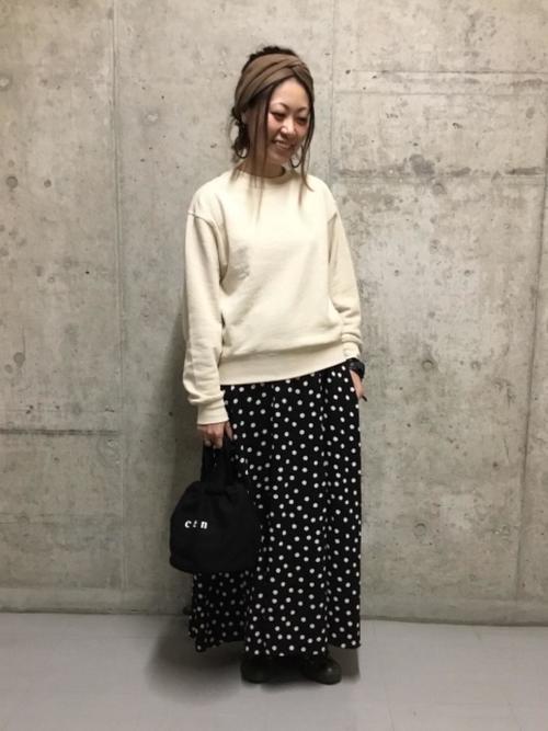 [coen] プリントタックロングスカート2