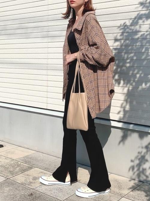 [Auntie Rosa] 【SHAGGIE】ビックシルエットチェックシャツ