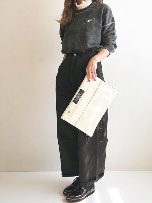[select MOCA] ツイルフロントタック美形シルエットワイドパンツ