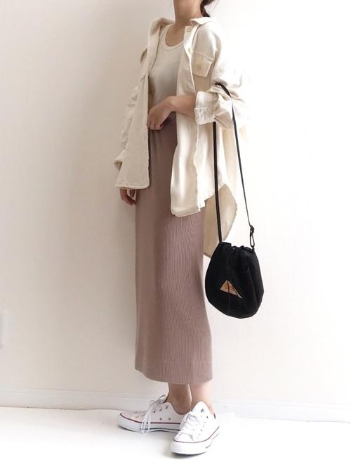 [AZUL ENCANTO] 【洗濯機で洗える】【消臭効果】カットソーワイドリブIラインスカート
