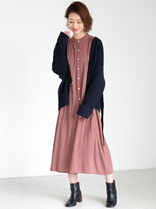 [STYLE AVENUE] ノーカラーギャザーシャツワンピース