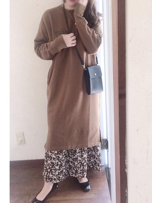 しまむらの花柄スカートコーデ21
