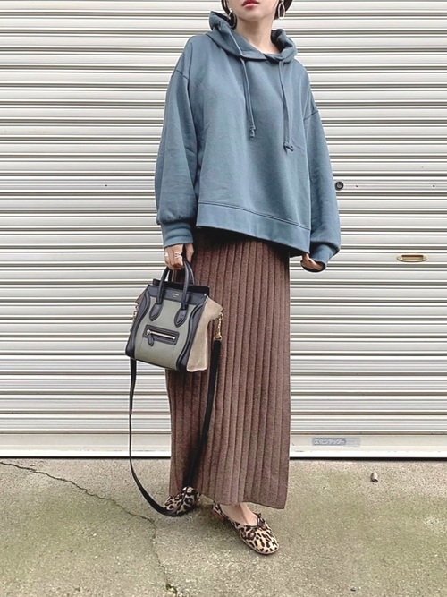 [Ifuru] リブニット ラップスカート