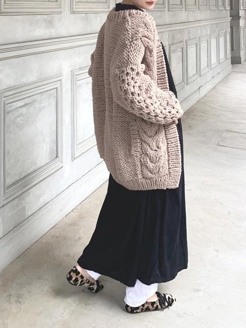 [Auntie Rosa] Libra バンドカラー長袖ワンピース
