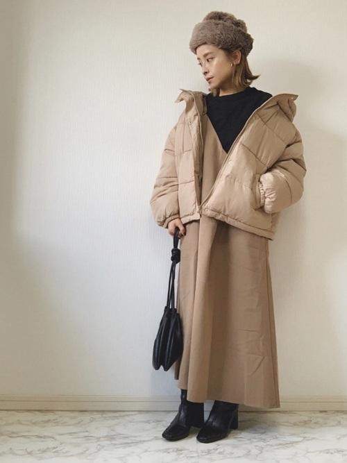 軽井沢 2月 服装 ワンピースコーデ2