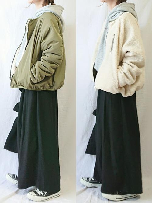 黒ワイドパンツ×ボアジャケットコート