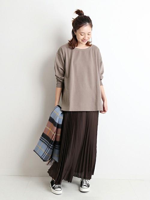 スカートスタイルで作るカフェオレ配色