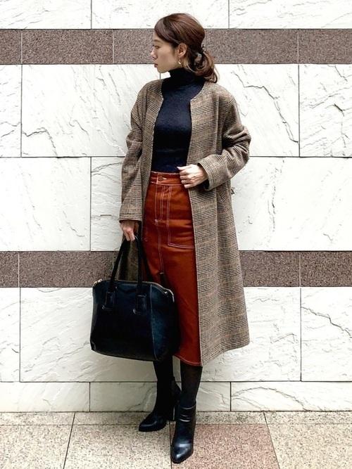 ZARA茶色スカート×ロングコートの秋コーデ