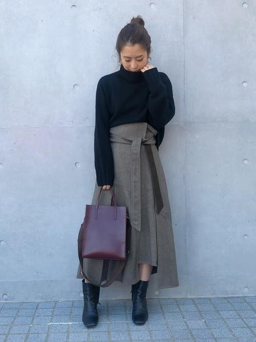 [STUDIOUS WOMENS] 【STUDIOUS】ラップタックアシンメトリーフレアースカート