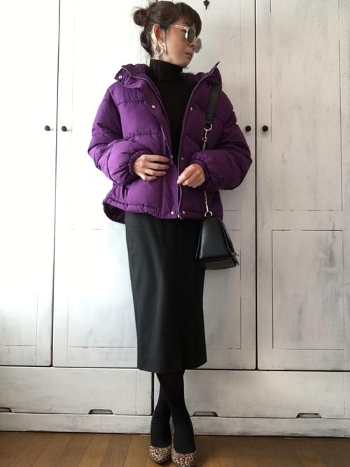 ZARA黒スカート×紫中綿ジャケットの冬コーデ