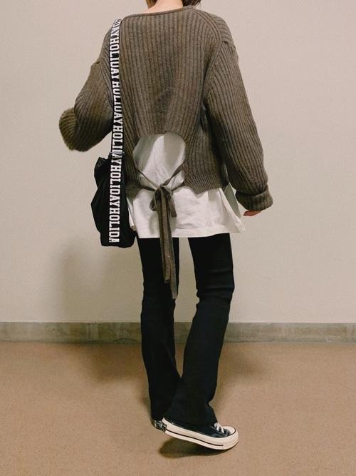 [UNE MANSION] 【Original】ハイウエストリブニットフレアパンツ