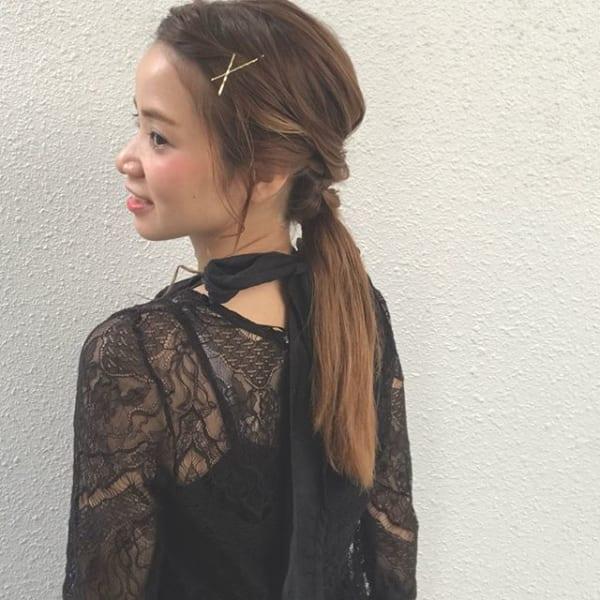 ねじり編みが可愛い短い前髪アレンジ