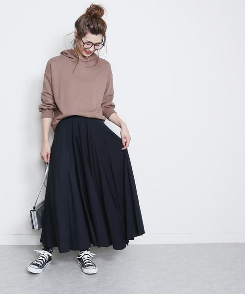 [reca] たっぷりフレアウエストゴム切りっぱなしロングスカート