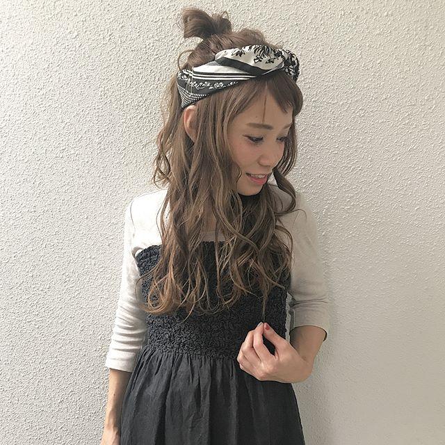 前髪ぱっつん×ハーフアップ