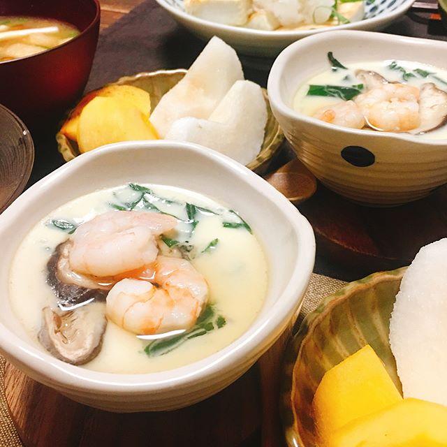 料理と副菜の付け合わせに!煮魚と茶碗蒸し