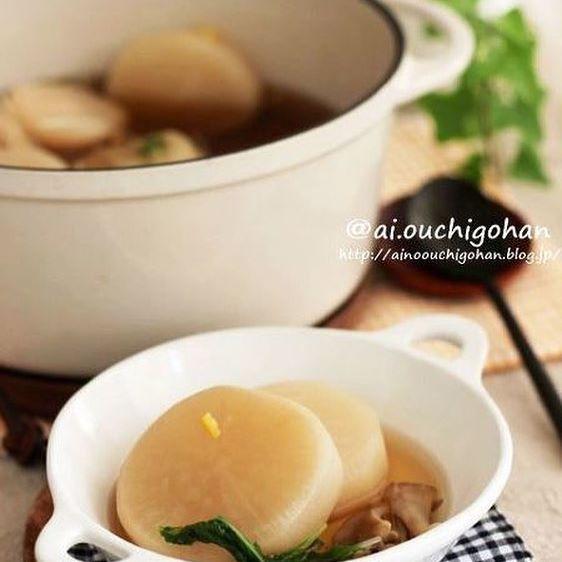 大根とまいたけの付け合わせに簡単旨味スープ