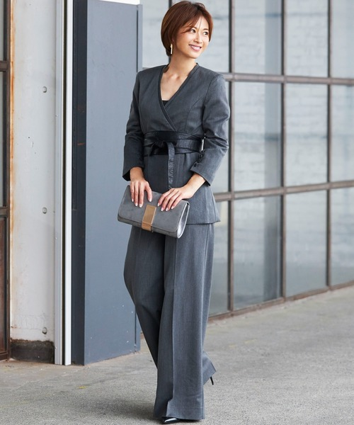 [C.R.E.A.M] ジャケット ロング パンツ ワイドパンツ セットアップ フォーマル スーツ ベルト付き【3点セット】結婚式