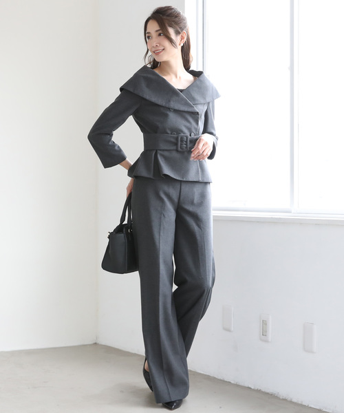 [C.R.E.A.M] ウール風 ジャケット ワイドパンツ パンツ フォーマル スーツ セットアップ ベルト付き【3点セット】結婚式