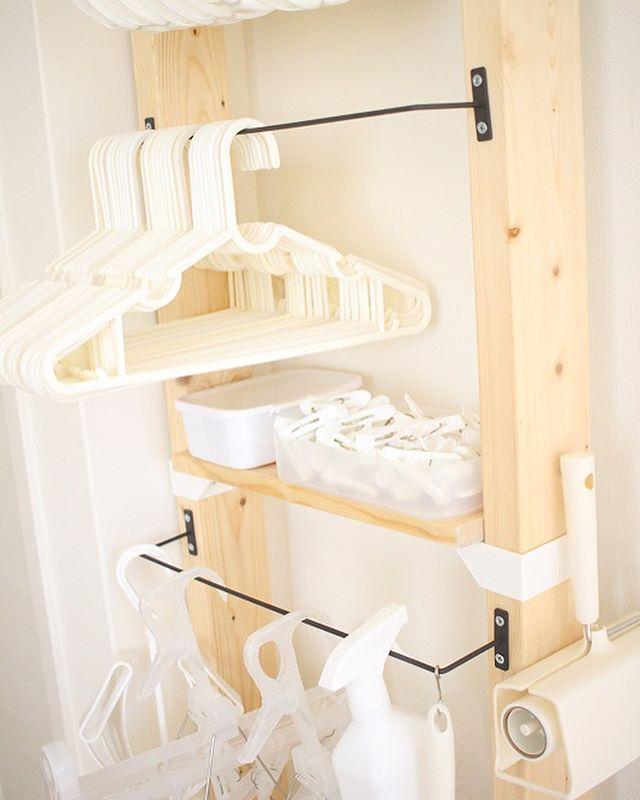 手作り棚で洗濯グッズを整理整頓