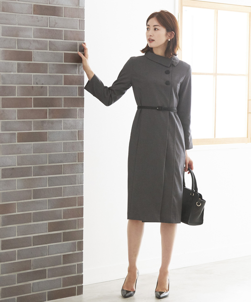 [C.R.E.A.M] ラップワンピース フォーマル スーツ ベルト付き【2点セット】結婚式 ブラックフォーマル 喪服