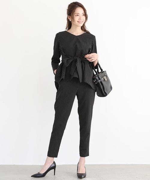 [C.R.E.A.M] フレア トップス セットアップ パンツ スーツ ベルト付【3点セット】結婚式 ブラックフォーマル 喪服